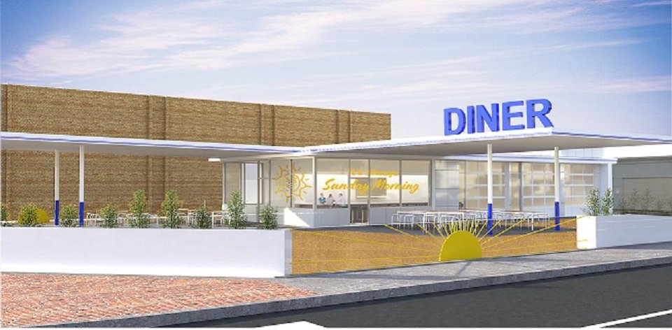 Photo -  Sunnyside Diner is set to open in what has been an unsightly old gas station at the gateway to downtown Edmond. [Rendering provided by HSE Architects]