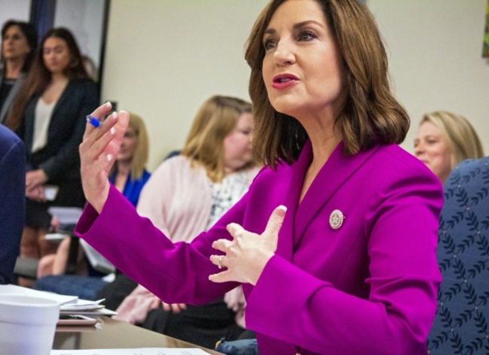 Photo -  Oklahoma's State Superintendent of Public Instruction Joy Hofmeister speaks during Wednesday's State Board of Education meeting in Oklahoma City. [Chris Landsberger/The Oklahoman]