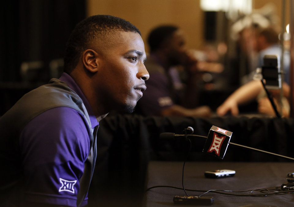 Photo - TCU quarterback Trevone Boykin talks with reporters during Big 12 Conference Football Media Days Monday, July 20, 2015, in Dallas. (AP Photo/Tony Gutierrez)