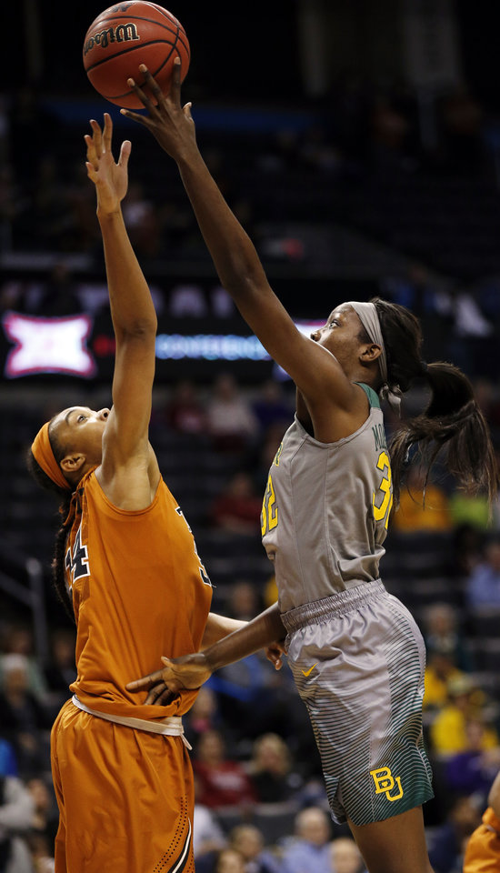 Photo - Baylor's Beatrice Mompremier (32) shoots against Texas' Imani Boyette (34) during the Big 12 Women's Basketball Championship final between the Texas Longhorns and the Baylor Lady Bears at Chesapeake Energy Arena in Oklahoma City, Monday, March 7, 2016. Photo by Nate Billings, The Oklahoman