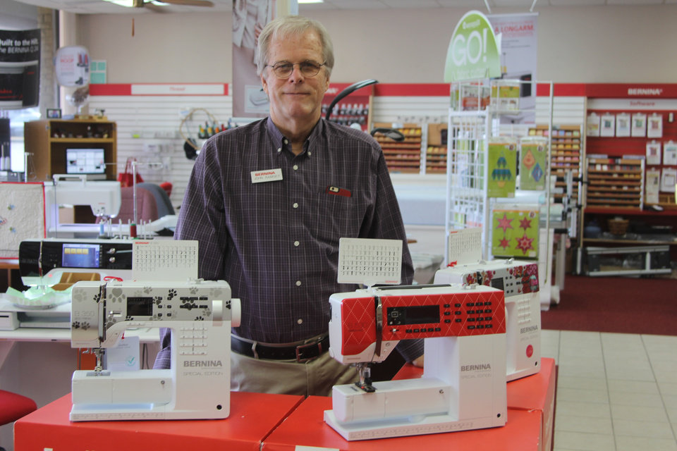 Photo - Owner John Ramsey is the second generation to run the Oklahoma City family business. His parents started Bernina OKC, a sewing machine and supplies store in north Oklahoma City. His daughter Emily now also works at the shop. Photo: Michaela Marx Wheatley.
