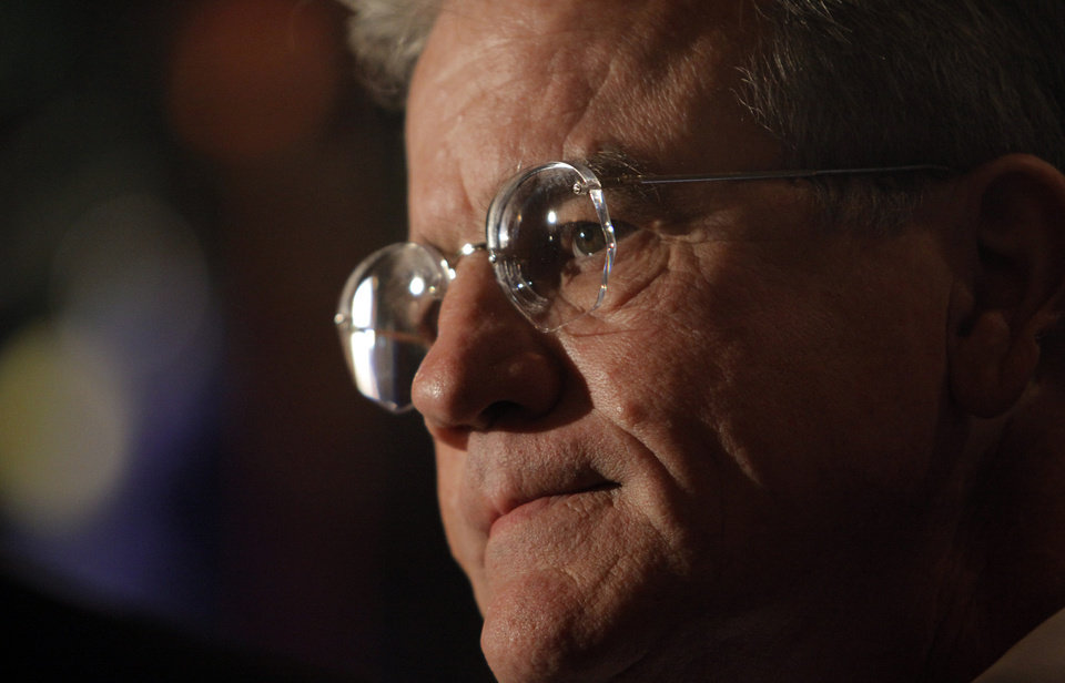 Photo - U.S. Senator Tom Coburn talks to the media at the republican Watch Party at the Marriott on Tuesday, Nov. 2, 2010, in Oklahoma City, Okla.   Photo by Chris Landsberger, The Oklahoman