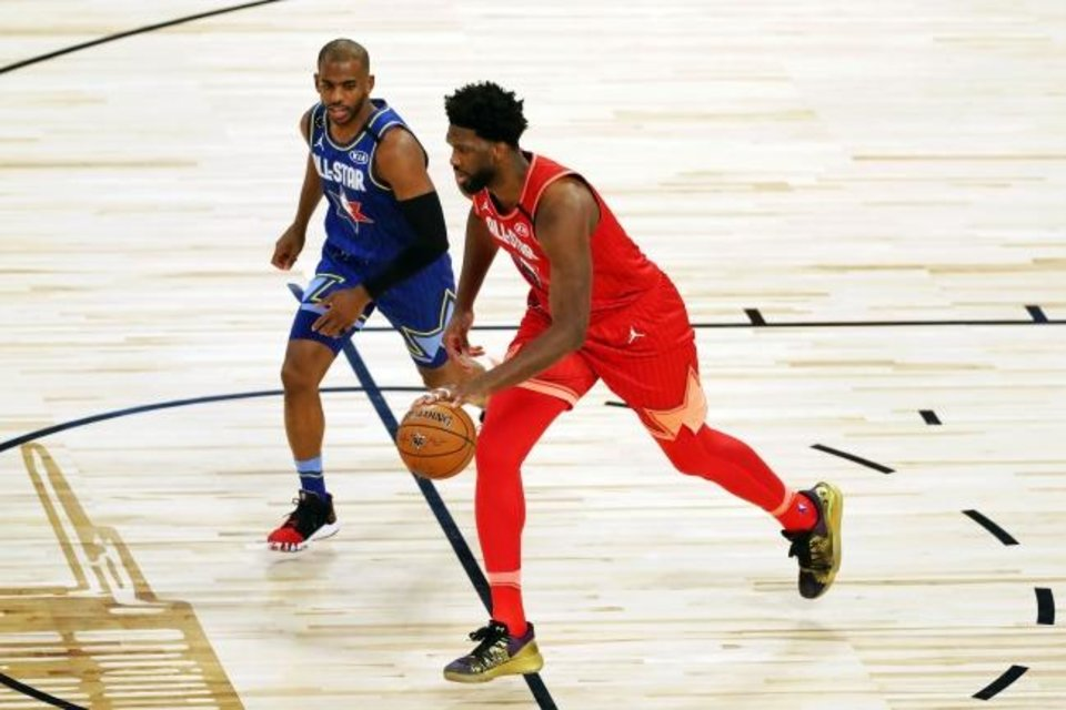 Photo - Feb 16, 2020; Chicago, Illinois, USA; Team Giannis center Joel Embiid of the Philadelphia 76ers  dribbles while Team LeBron guard Chris Paul of the Oklahoma City Thunder defends during the first quarter during the second quarter during the 2020 NBA All Star Game at United Center. Mandatory Credit: Dennis Wierzbicki-USA TODAY Sports