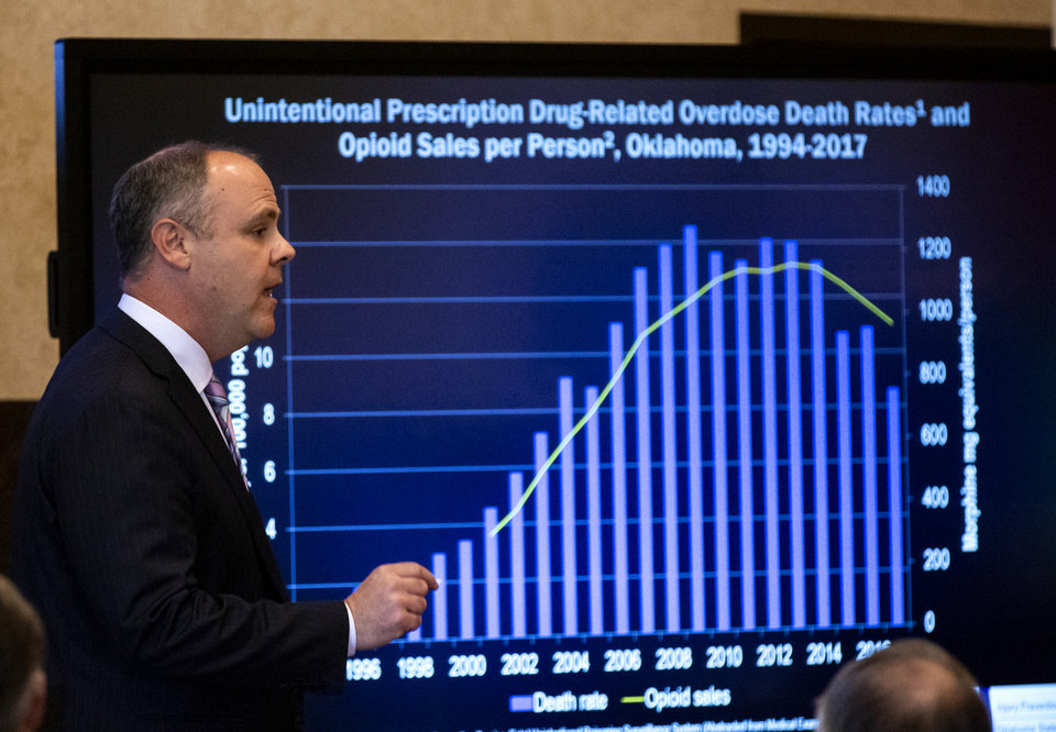 Photo - State's attorney Brad Beckworth presents information in the opening statements during the opioid trial at the Cleveland County Courthouse in Norman, Okla. on Tuesday, May 28, 2019. The proceeding are the first public trial to emerge from roughly 2,000 U.S. lawsuits aimed at holding drug companies accountable for the nation's opioid crisis.  [Chris Landsberger/The Oklahoman]