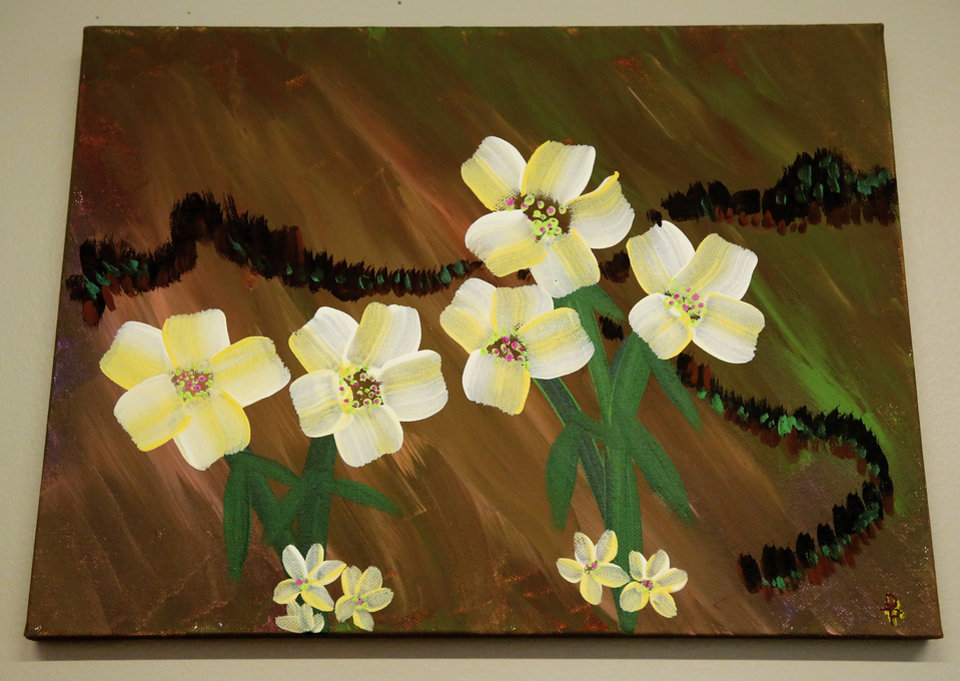 Photo -  A piece of art by Derek Prophet, an art class regular with the fresh stART program at The Homeless Alliance day shelter in Oklahoma City. Police shot and killed Prophet on May 25. Prophet had a police history but was also a prolific artist and a gentle soul, his friends say. [Photos by Jim Beckel, The Oklahoman]