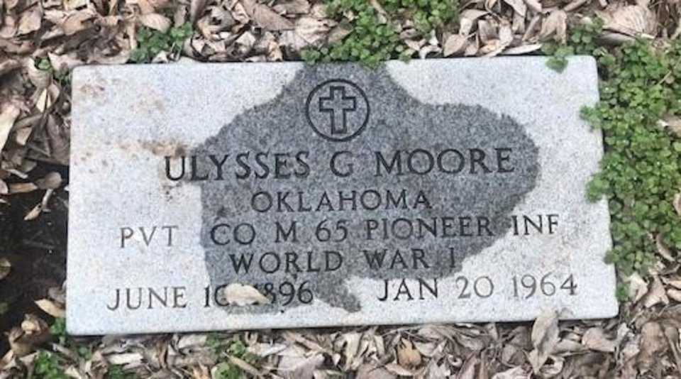 Photo -  The headstone for Ulysses G. Moore was found by a man in his backyard on E Madison St. [TRINITY PRESBYTERIAN CHURCH]