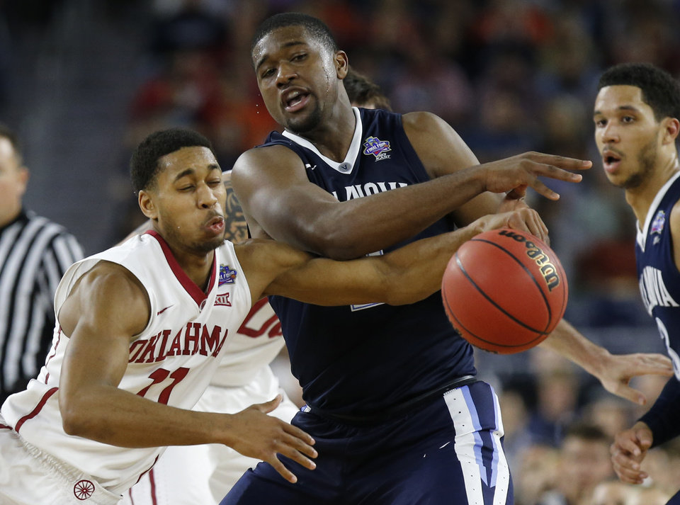 Photo - Oklahoma's Isaiah Cousins (11) goes for the ball beside Villanova's Kris Jenkins (2) during the national semifinal between the Oklahoma Sooners (OU) and the Villanova Wildcats in the Final Four of the NCAA Men's Basketball Championship at NRG Stadium in Houston, Saturday, April 2, 2016. Photo by Nate Billings, The Oklahoman
