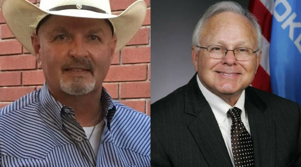 Photo - Canadian County Sheriff Chris West (left) and Rep. Bobby Cleveland