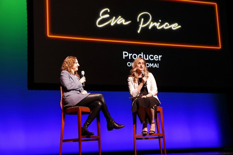 Photo - Elizabeth Gray, general manager of OKC Broadway, talks with Eva Price, the producer of the revival of