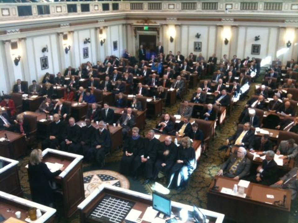 Photo - Oklahoma Gov. Mary Fallin delivers the State of the State address today in this photo by Jim Beckel.