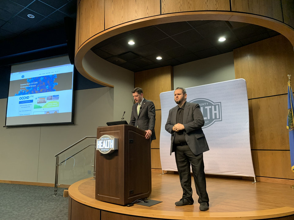 Photo - Mayor David Holt announced sweeping restrictions Tuesday in Oklahoma City to slow the spread of coronavirus. Holt spoke at a news conference at the Oklahoma City-County Health Department.