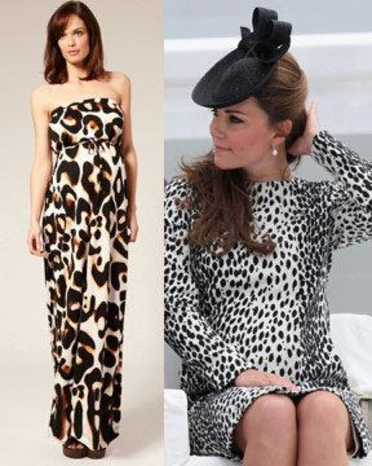 Photo - Left: Asos maternity maxi dress. Photo provided. Right: Pregnant Kate Middleton, Duchess of Cambridge, wears a Hobbs Dalmatian print coat. AP Photo.