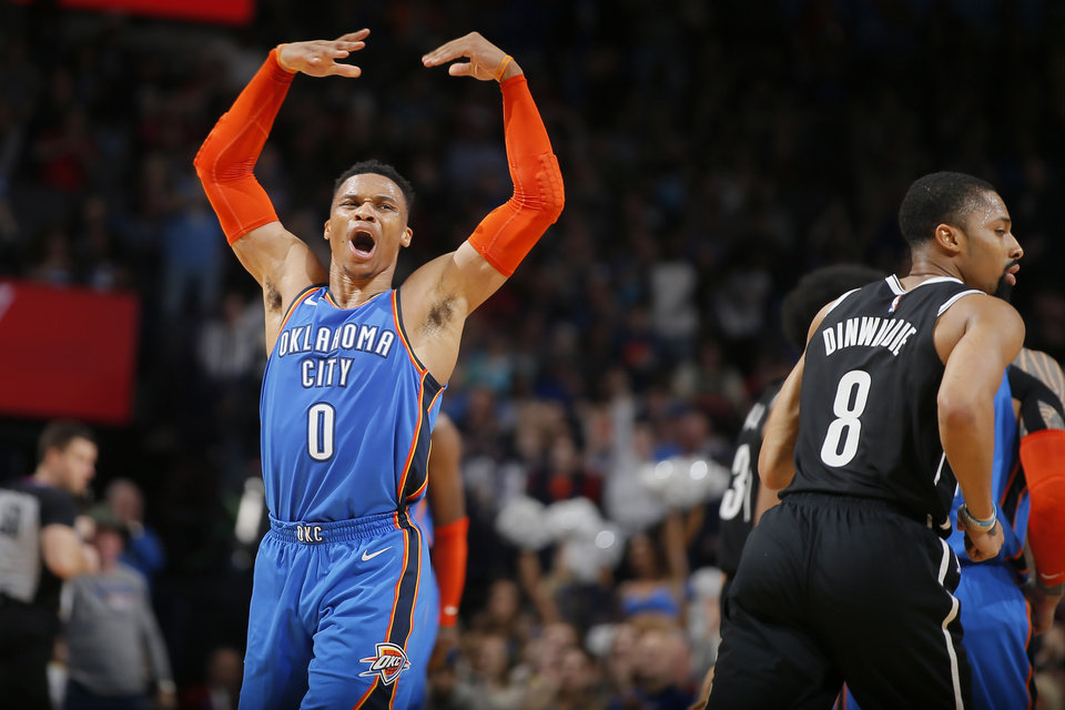 Photo - Oklahoma City's Russell Westbrook (0) celebrates after an Oklahoma City basket during an NBA basketball game between the Oklahoma City Thunder and the Brooklyn Nets at Chesapeake Energy Arena in Oklahoma City, Wednesday, March 13, 2019. Oklahoma City won 108-96. Photo by Bryan Terry, The Oklahoman