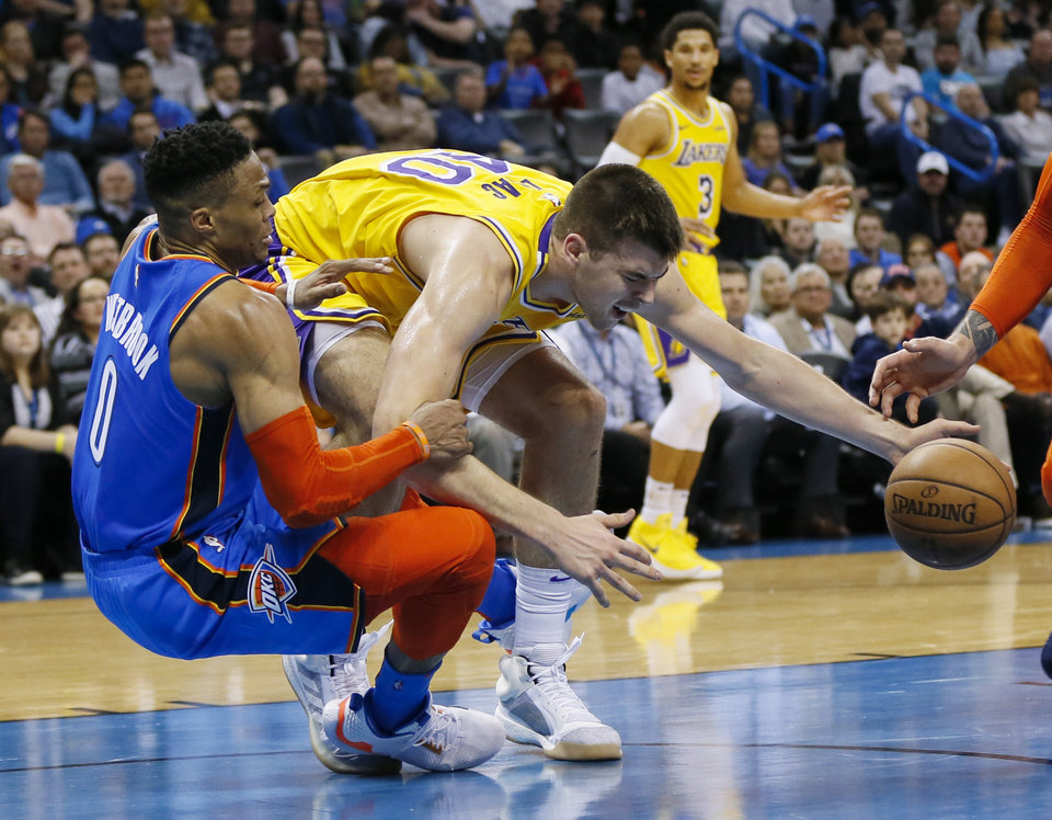 Photo - Oklahoma City's Russell Westbrook (0) fouls Los Angeles' Ivica Zubac (40) as they collide in the fourth quarter during an NBA basketball game between the Los Angeles Lakers and the Oklahoma City Thunder at Chesapeake Energy Arena in Oklahoma City, Thursday, Jan. 17, 2019. Los Angeles won 128-138 in overtime. Photo by Nate Billings, The Oklahoman