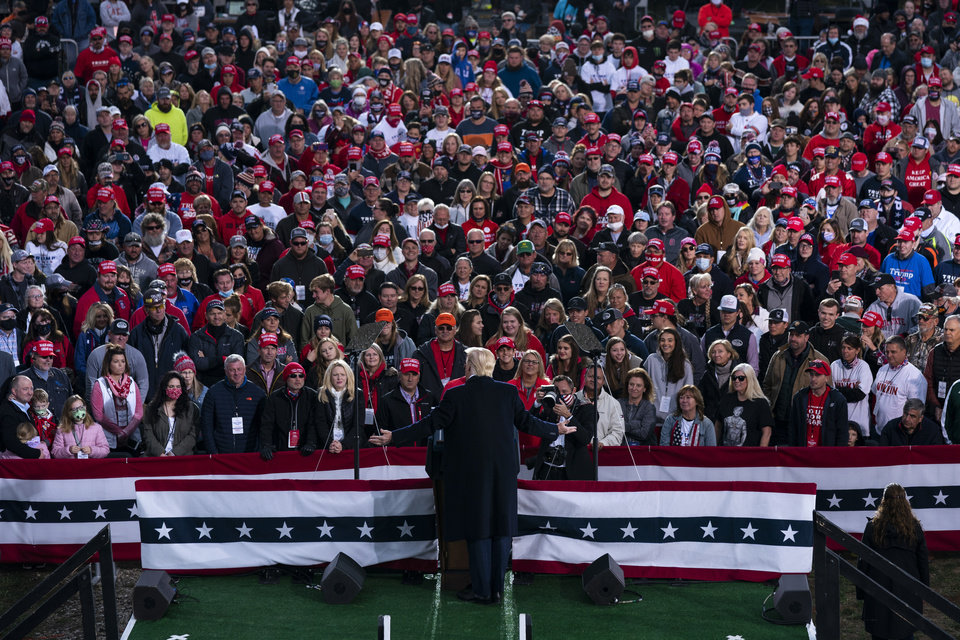 Photo -  President Donald Trump speaks during a campaign rally Oct. 24 in Circleville, Ohio. Trump's 2020 reelection campaign was powered by a cell phone app that allowed staff to monitor the movements of his millions of supporters, and offered intimate access to their social networks. [Evan Vucci/Associated Press file photo]