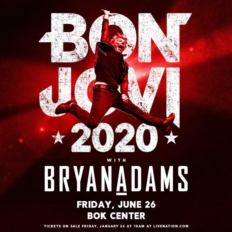 Photo - Bon Jovi is bringing its 2020 tour to Oklahoma for a summer show at Tulsa's BOK Center. [Poster image provided]