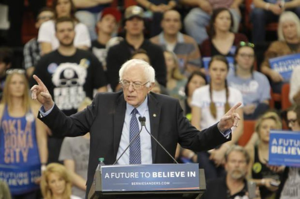 Photo -  Bernie Sanders speaks at an Oklahoma City rally at the Cox Convention Center. [Photo by Doug Hoke, The Oklahoman Archives]