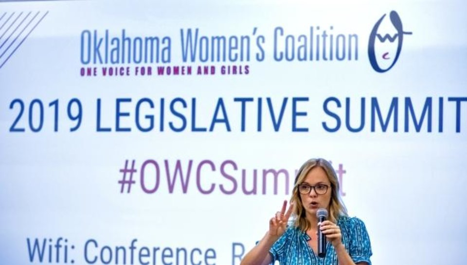 Photo -  Executive Director Liz Charles speaks during the 2019 Oklahoma Women's Coalition Legislative Summit at The ChildrenþÄôs Center Rehabilitation Hospital in Bethany, Okla. on Tuesday, Sept. 17, 2019. [Chris Landsberger/The Oklahoman]