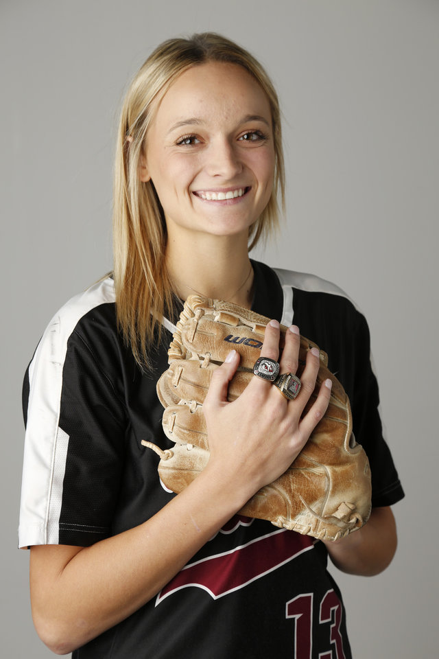 Photo - Fall All City player, Macy McAdoo, Tuttle, softball, Tuesday, November 20, 2018.  Photo by Doug Hoke, The Oklahoman