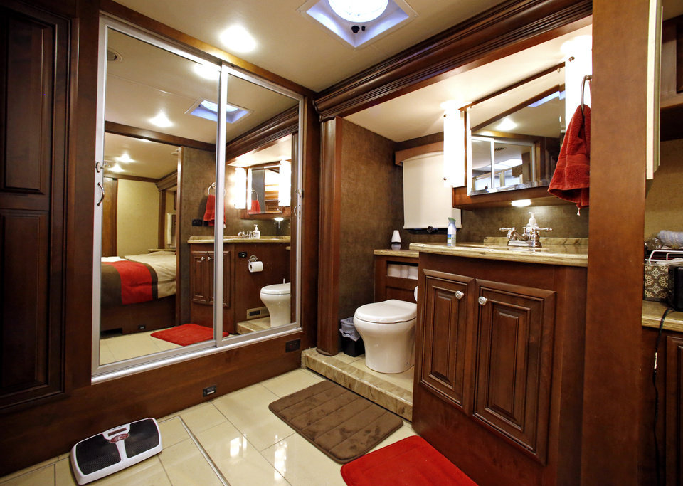 Photo -  Permanent bathroom facilities are among the features an RV must have for the IRS to treat it as a home and for the owner to deduct loan interest. This is a view from Edward and Karen McCoy's RV. [PHOTO BY STEVE SISNEY, THE OKLAHOMAN]