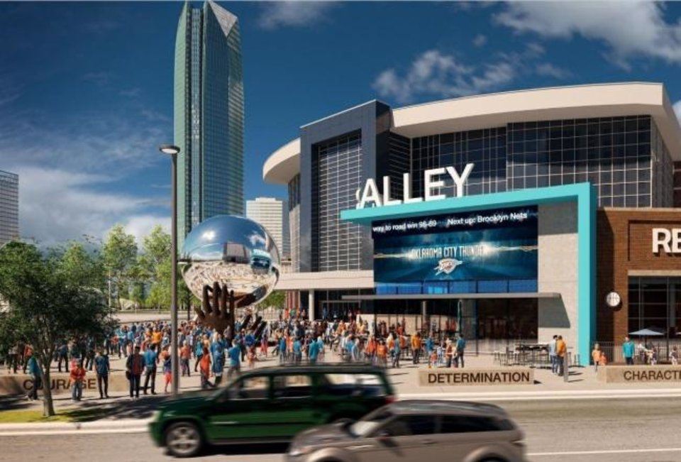 Photo -  A reflective basketball sculpture anchors revised plans for the proposed Thunder Alley development south of Chesapeake Energy Arena. [PROVIDED]