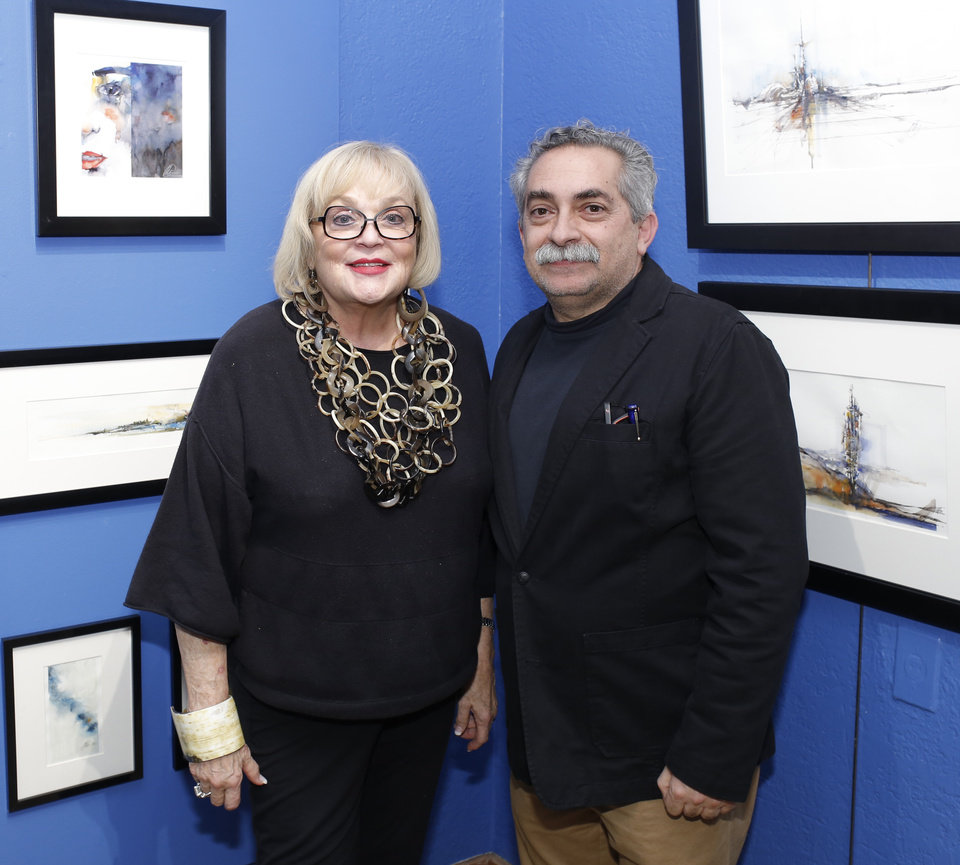 Photo - Joy Reed Belt and Moh'd Bilbeisi during First Friday at JRB Art at the Elms in the Paseo Friday, November 2, 2016.  Photo by Doug Hoke, The Oklahoman