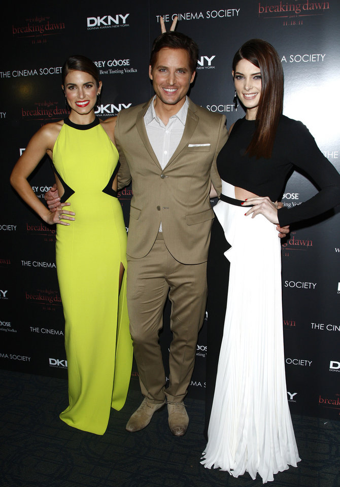Photo - From left, actors Nikki Reed, Peter Facinelli and Ashley Greene attend the Cinema Society premiere of