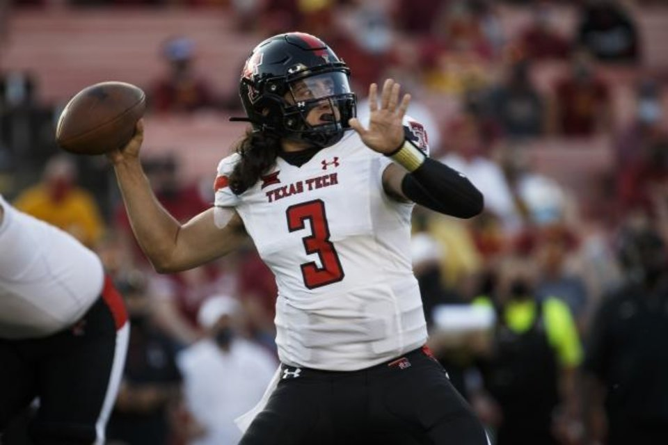 Photo -  Henry Colombi has replaced Alan Bowman as Texas Tech's starting quarterback. Colombi played for Red Raiders coach Matt Wells previously at Utah State. [Brian Powers/USA TODAY Sports]