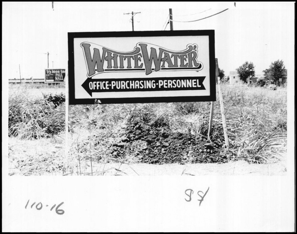 """Photo - Photograph used for a story in the Daily Oklahoman newspaper. Caption: """"Bulldozers continue to work on the fu-ture site of White Water, (a water them park) scheduled to open in May of 1981."""""""