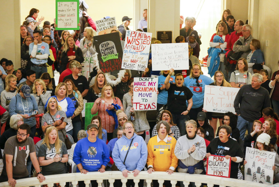 Photo - Teachers and supporters of increased education funding fill the second floor of the state Capitol during the fifth day of a walkout by Oklahoma teachers, in Oklahoma City, Friday, April 6, 2018. Photo by Nate Billings, The Oklahoman