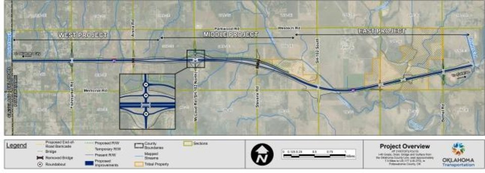 Photo -  This map from the Oklahoma Department of Transportation shows the proposed project stretching from the Oklahoma-Pottawatomie County line to Shawnee. [Provided]