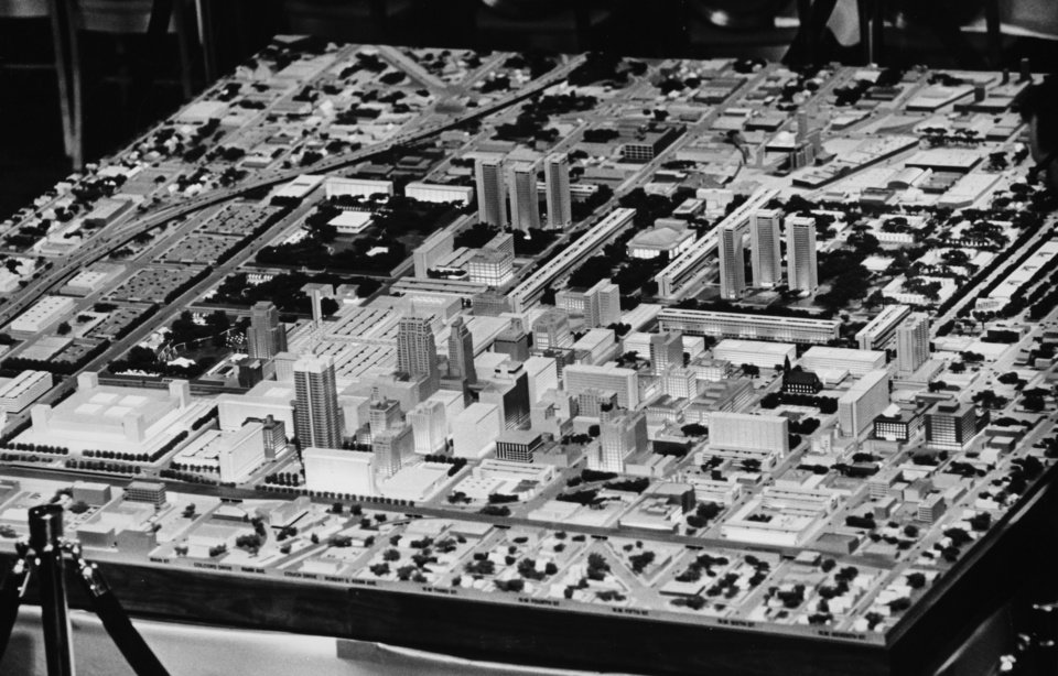 Photo - Model of I.M. Pei plan for downtown Oklahoma City from east looking west shows central business district. Oklahoma City Times staff photo by Tony Woods dated December 10, 1964. Original from Oklahoman print archive, copied Friday, April 30, 2010. Copy photo by Doug Hoke, The Oklahoman. ORG XMIT: KOD