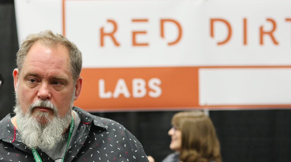 Photo - Tommy Gragg, owner of Red Dirt Labs, at the Green Grow Expo at State Fair Park, Saturday, March 2, 2019.  Photo by Doug Hoke, The Oklahoman