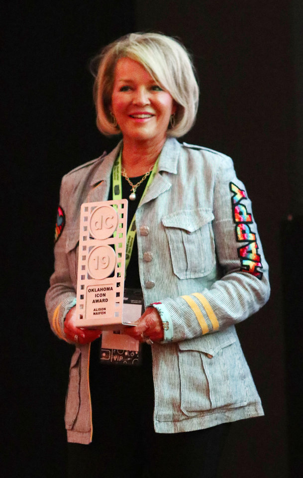 Photo - Alison Naifeh is presented her 2019 Oklahoma Film Icon award during opening night for deadCenter at the Oklahoma City Museum of Art, Thursday, June 6, 2019. [Doug Hoke/The Oklahoman]