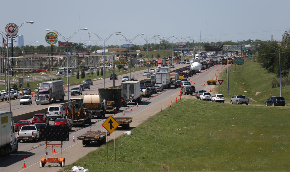 Photo - Northbound traffic is backed up at the SE 19th exit Moore on Wednesday. PHOTO BY SARAH PHIPPS, THE OKLAHOMAN