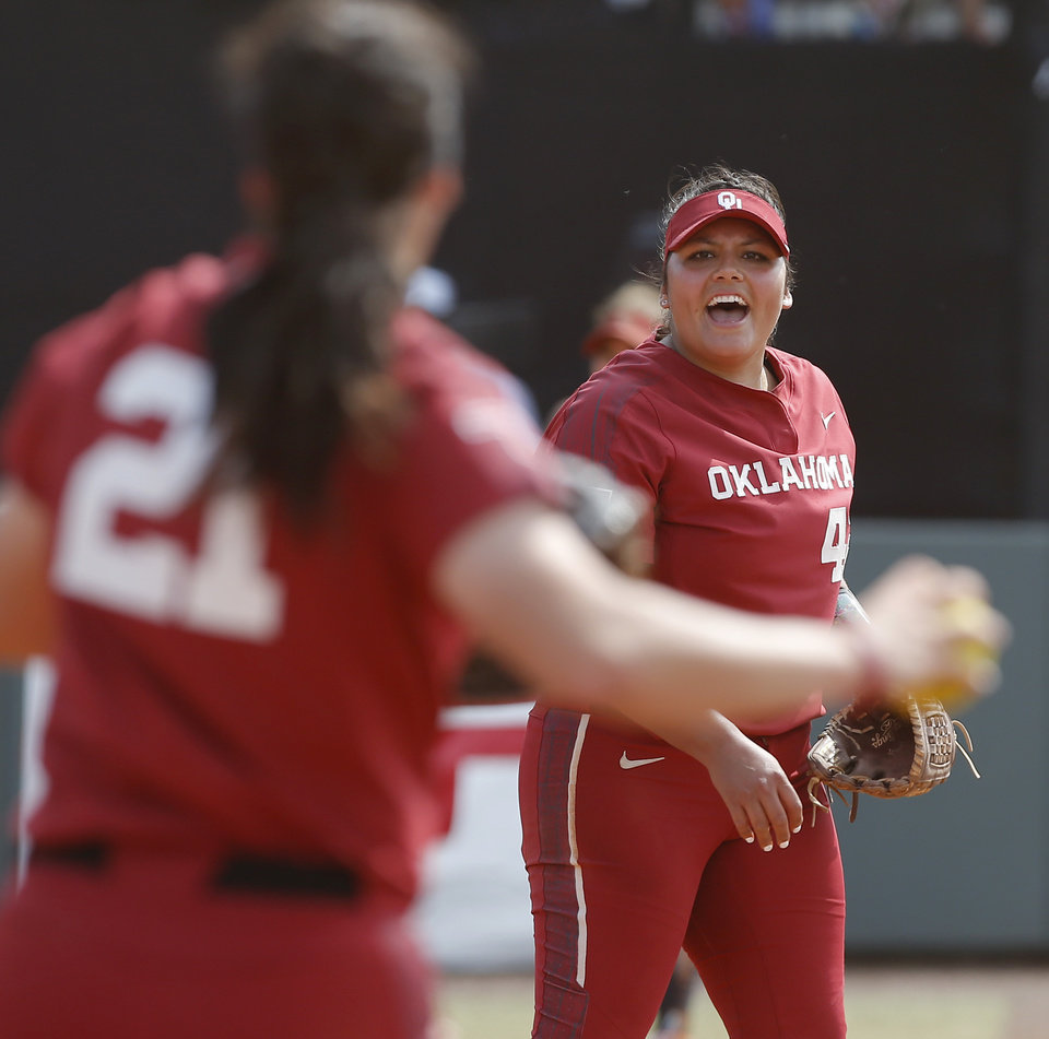 Photo - Oklahoma's Mariah Lopez (42) reacts after a double play in the third inning of the second softball game in the Norman Super Regional between the University of Oklahoma (OU) and Northwestern in Norman, Okla., Saturday, May 25, 2019. Oklahoma won 8-0 to send them to the Women's College World Series. [Bryan Terry/The Oklahoman]