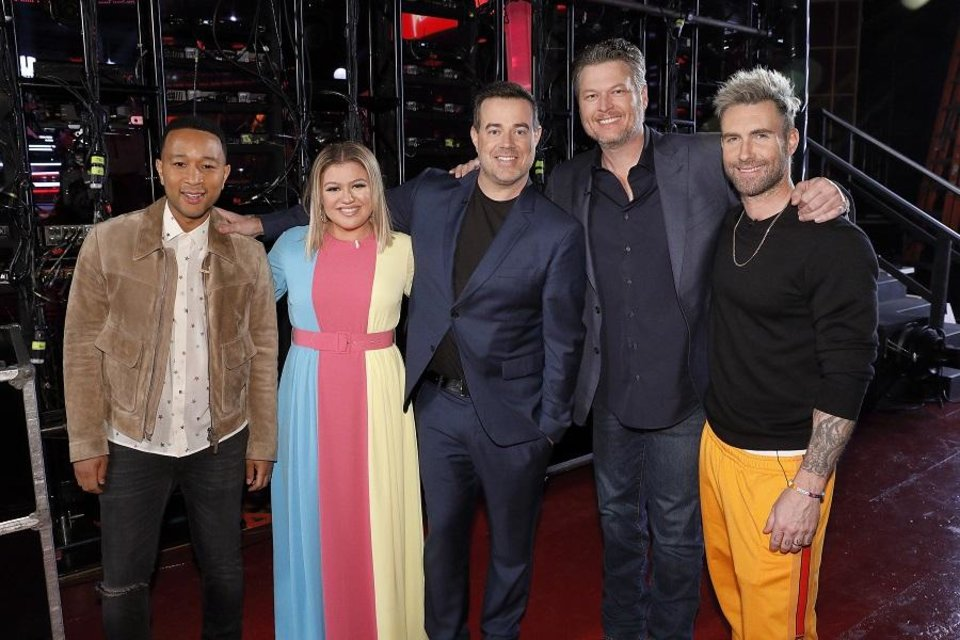 Photo - From left, John Legend, Kelly Clarkson, Carson Daly, Blake Shelton and Adam Levine will all return for