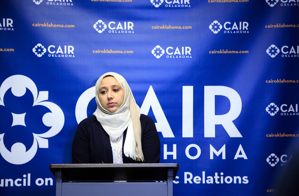 Photo -  Jenan Ayesh addresses the media on Friday during a news conference at the Oklahoma City office of the Council on American-Islamic Relations-Oklahoma chapter. [Photo by Chris Landsberger, The Oklahoman]