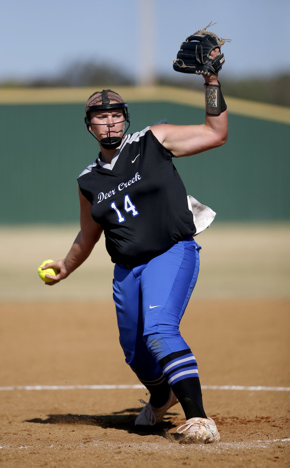 Photo - Deer Creek's Terin Ritz throws a pitch during the state softball championship tournament game between Edmond Memorial and Deer Creek at the Ballfields at Firelake in Shawnee, Okla., Thursday, Oct. 17, 2019. [Sarah Phipps/The Oklahoman]