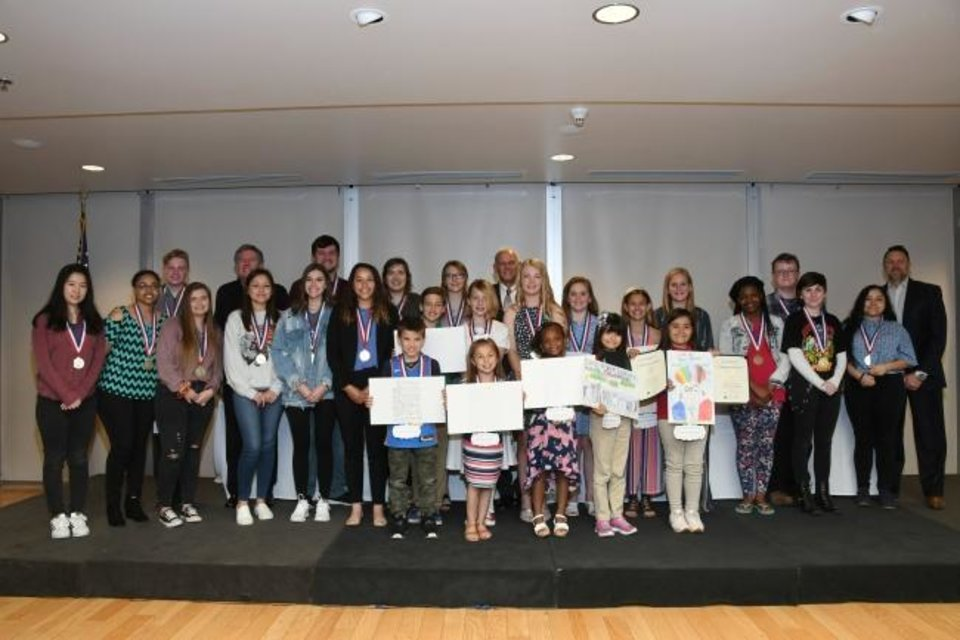 Photo -  Students across Oklahoma participating in the Oklahoma Red Ribbon Campaign's artwork and essay contest received first-, second- and third-place Jim Thorpe medals for their projects. [PHOTO PROVIDED]