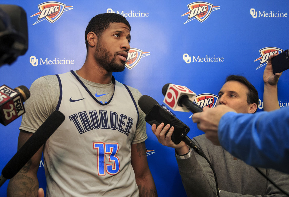 Photo -  Thunder forward Paul George said he takes pride in his signature shoe line, so having a player injury to a defect is