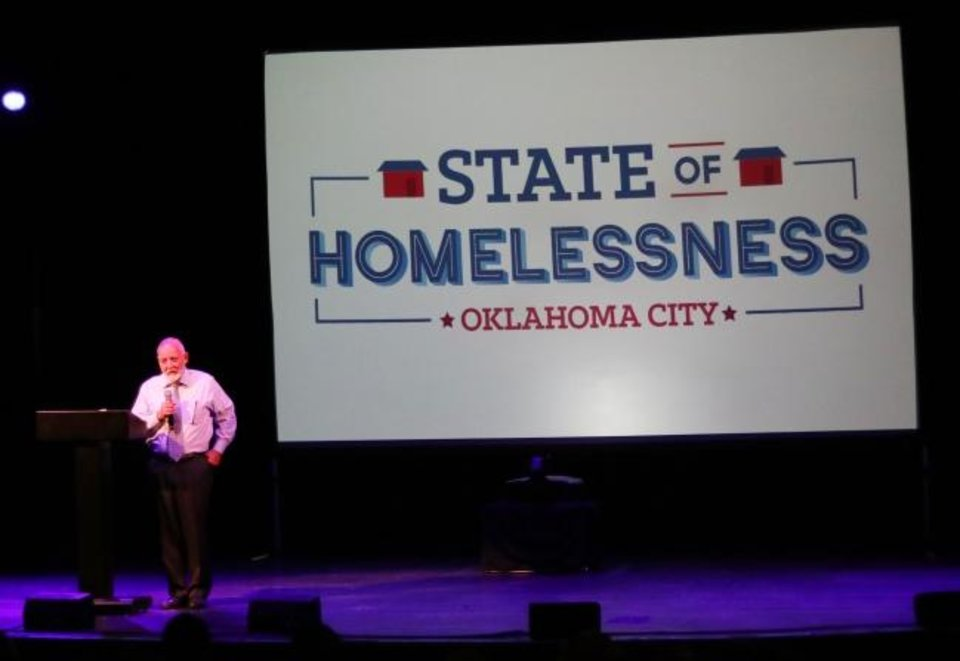 Photo -  Dan Straughan, executive director of the Homeless Alliance, speaks about the state of homelessness during a June 4 conference. [Doug Hoke/The Oklahoman]