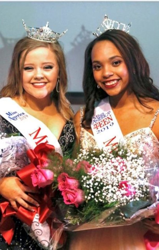 Photo -  Miss Mustang 2019 Jace Deitrick, left, is pictured with Mustang Outstanding Teen Mackenzie Chandler. [PHOTO PROVIDED]
