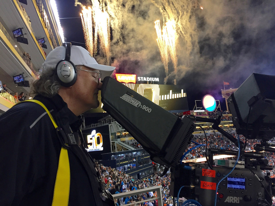 Photo -  Bobby Smith runs a camera during Super Bowl 50 in Santa Clara, California. Smith is from Stillwater. [PHOTO PROVIDED]