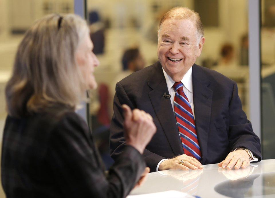 Photo - Kathryn McNutt, Higher Education writer, interviews  David Boren, University of Oklahoma President, Tuesday, February 16, 2016. Photo by Doug Hoke, The Oklahoman