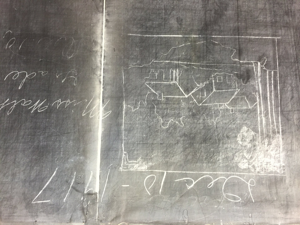 Photo - Additional historic slate blackboards have been uncovered at Emerson High School in Oklahoma City. Photo by Todd Fraser