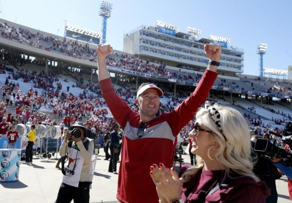 Photo -  OU coach Lincoln Riley celebrates the Sooners' 34-27 win against Texas on Oct. 12 at Cotton Bowl Stadium in Dallas. [Sarah Phipps/The Oklahoman]