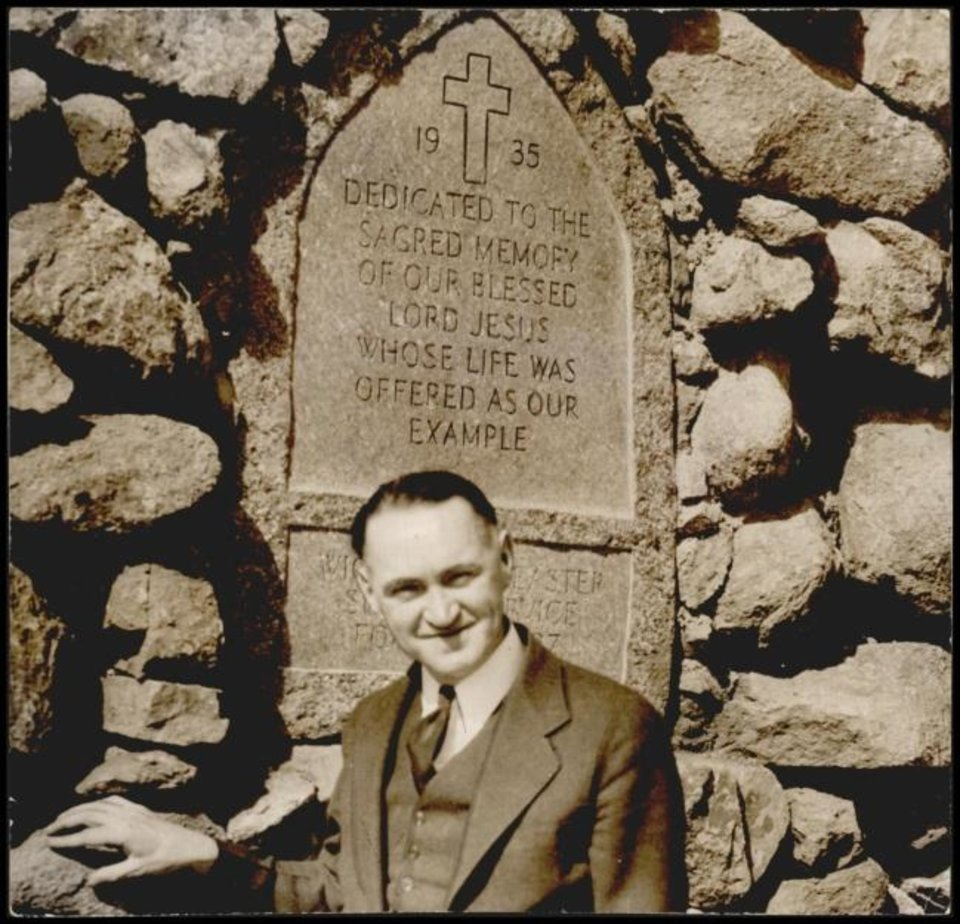 Photo -  This 1936 photo shows the Rev. Anthony Mark Wallock, foumder and director of the Wichita Mountains Easter Sunrise Service  later renamed the Prince of Peace Easter Pageant at the Holy City of the Wichitas. [The Oklahoman Archives]