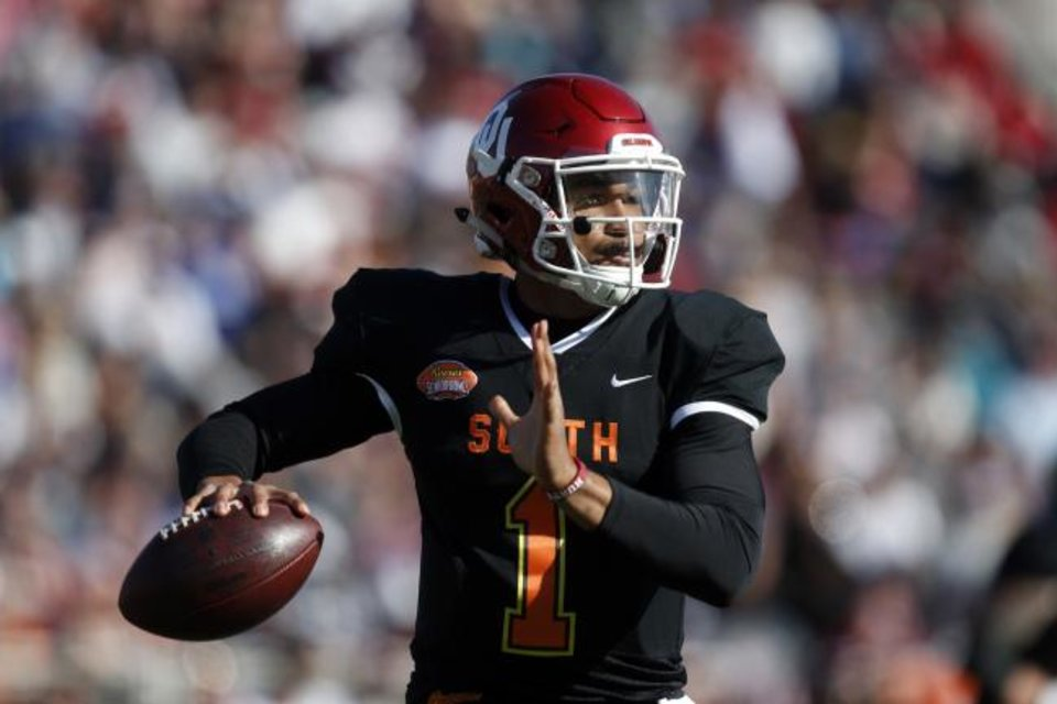Photo -  South quarterback Jalen Hurts of Oklahoma (1) throws a pass during the first half of the Senior Bowl college football game Saturday, Jan. 25, 2020, in Mobile, Ala. (AP Photo/Butch Dill)
