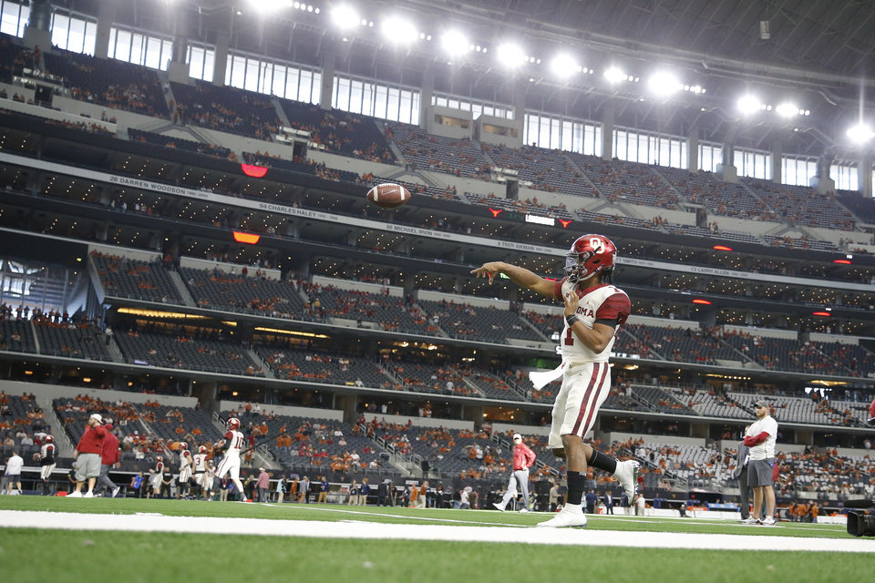 Photo - Oklahoma's Kyler Murray (1) warms up the Big 12 Championship football game between the Oklahoma Sooners (OU) and the Texas Longhorns (UT) at AT&T Stadium in Arlington, Texas, Saturday, Dec. 1, 2018.  Photo by Bryan Terry, The Oklahoman
